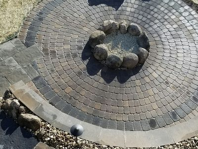 A permeable paver system in residential landscaping